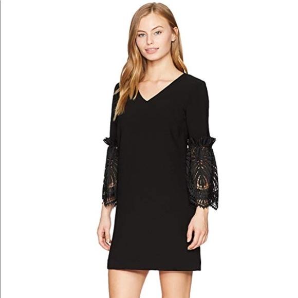 f110a6cf Tahari Dresses | V Neck Shift Dress With Lace Bell Sleeve 8p | Poshmark